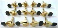 12 string guitar machine heads Ebony buttons for Acoustic guitars 233G-BT15