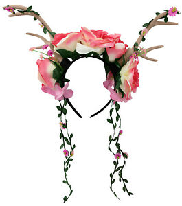 Womens-Floral-Rose-Vine-Headband-Deer-Faun-Mythical-Creature-Halloween-Accessory