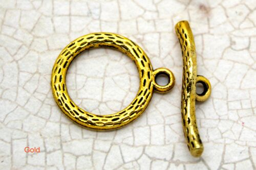 Lot Round Circle Antiqued Toggle Clasps Jump ring Necklace Bracelet Connectors