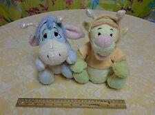 Walt Disney Co Plush Tigger & Eeyore Wings Antennae Shiny Pastel Toy Lot of 2