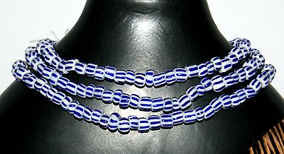 Strang gestreifte weiß rot blau Glasperlen aus Ghana Trade Beads 6 mm