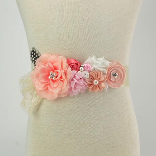 Maternity Flower Belly Sash Wedding Baby Shower Vintage Belt Pregnant Photo Prop