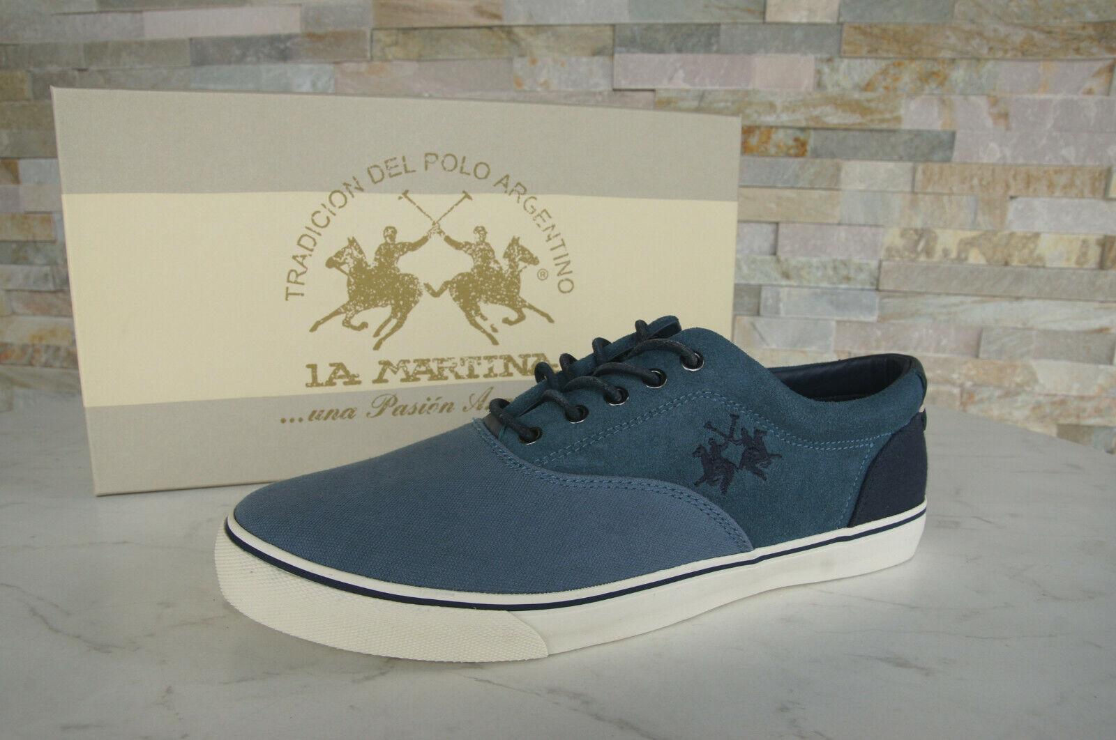 La Martina Dimensione 42 scarpe da  ginnastica Lace -Up scarpe L3090232 Blu Nuovo ex Rrp 149  punto vendita