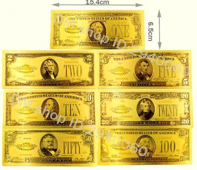 """★★ Usa : Serie De 7 Billets Polymer """" Or """" 1,2,5,10,20,50 Et 100 Dollars 1928 ★ Goedkoopste Prijs Van Onze Site"""