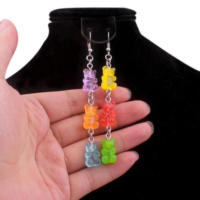New Funny Colorful Cartoon Three Bear Animal Dangle Drop Earrings Jewelry GiJB