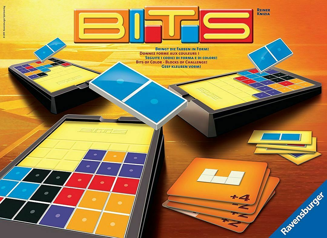 Ravensburger Bits Shapes Colours Dissection Puzzle Strategy Dominoes Game