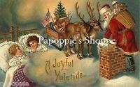 Victorian Christmas Fabric Block Visions of Santa Claus Reindeer Kids Sleeping