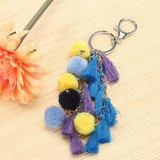 Bohemia Women Fashion Pom Pom Balls Tassel Charms Bag Purse Keychains Key Ring