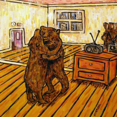 BEARS DANCING LESSON ceramic grizzly art tile coASTER
