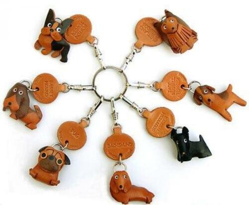 Maltese Handmade 3D Leather Dog Keychain *VANCA* Keyring Made in Japan #56741