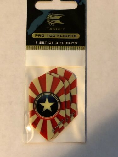 Dart Flights Slim Shape H13-4 Whit Star Blue Shield Red//White Stripes