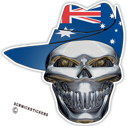 AUSSIE PRIDE PROUD INFIDEL STICKER SKULL WITH AUSTRALIAN FLAG DIGGERS SLOUCH HAT