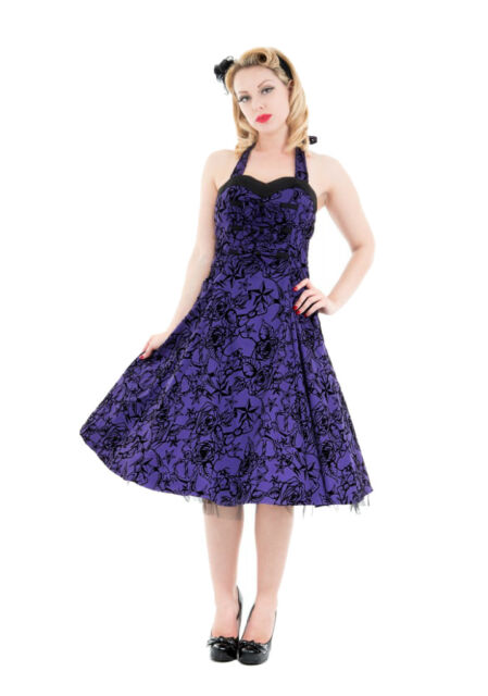 PURPLE HALTER DRESS FLOCKED SWALLOWS PINUP 50's HOUSEWIFE RETRO H&R LONDON STAR