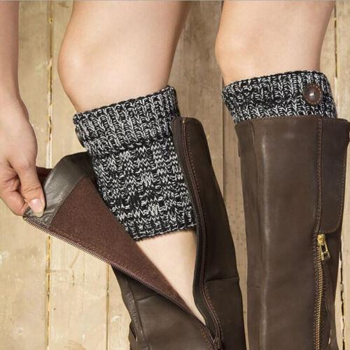 Womens Crochet Boot Cuffs Knit Toppers Boot Socks Leg Warmers Winter Button LH