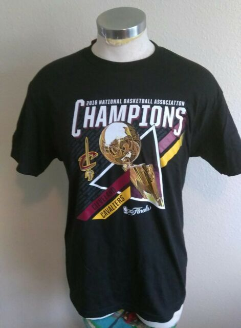 c2dcaae384b3 2016 NBA Champions Cleveland Cavaliers Team Trophy T-shirt Black Mens Small