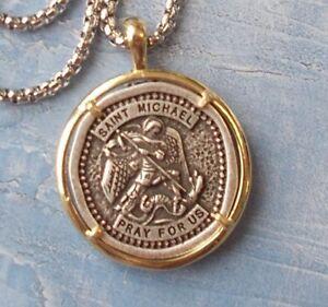 UNIQUE-Large-2-tone-St-Michael-Pendant-Necklace-Medal-with-24-034-Chain-amp-card
