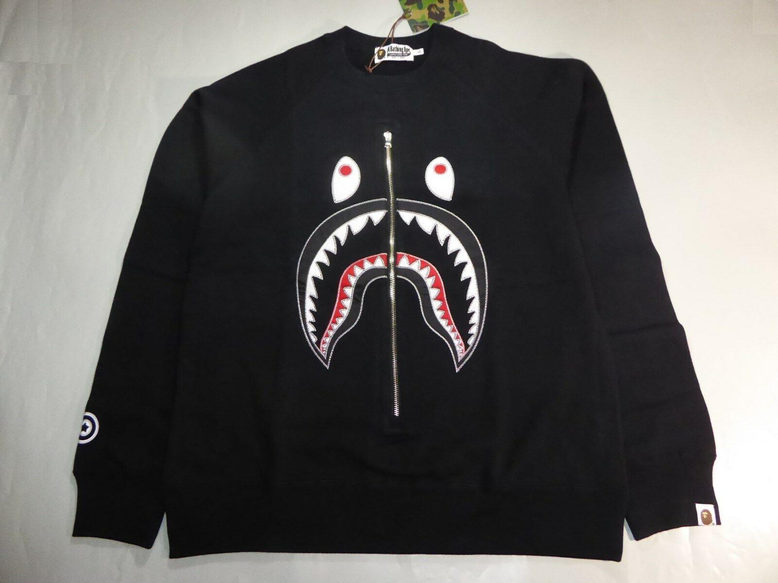 20108 bape applique shark crewneck schwarz L