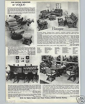 1970 Paper Ad Vogue Biscayne Rattan Patio Furniture Lounge