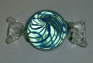 Art-Glass-Large-Candy-Murano-Blue-Stripes-Vtg-Figurine-Paperweight-5-75-034