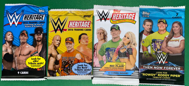Lot Of 4 Different WWE Wrestling Card Topps Packs. 2015,16,18 Heritage. Then Now