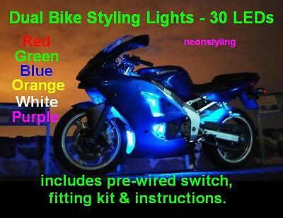 "4x 12/"" LED neon styling Lights for Motorbike Scooter Moped Superbike quad bike"