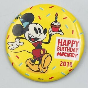 "2018 Disneyland Happy Birthday Mickey Mouse w/ Cupcake Souvenir Button Pin 3"""