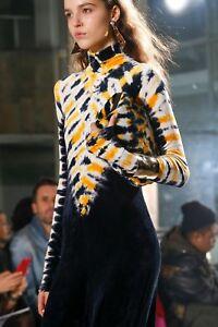 1395-Proenza-Schouler-NEW-Yellow-Multi-Tie-Dye-Turtleneck-Velvet-Maxi-Dress-XS