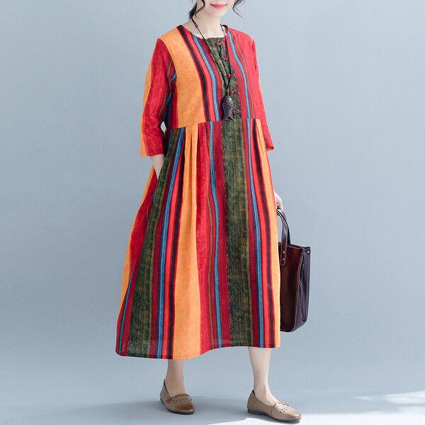 kleid lang kleid maxi élégant komfortabel rot streifen weich licht 4837
