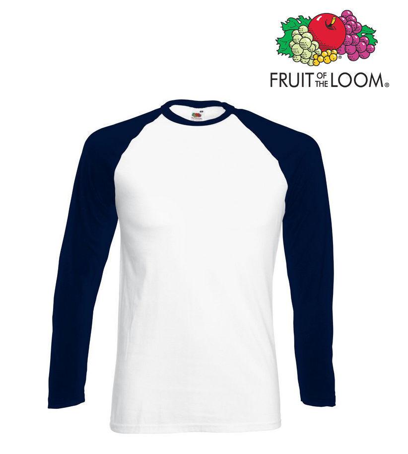 Lot de 5 T-shirts baseball homme manches longues FOTL COULEUR BLANC / BLEU NAVY