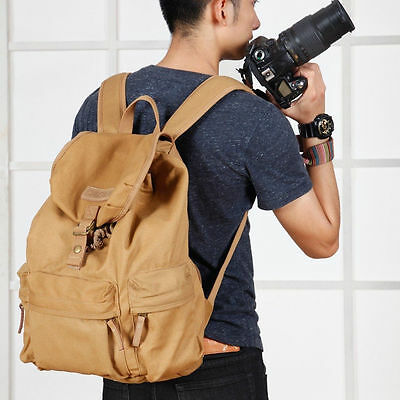 DSLR Camera Vingage Canvas Backpack Rucksack Bag Case For Nikon Canon EOS Sony
