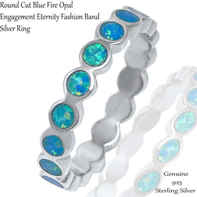 Blue Fire Opal Eternity Wedding Engagement Sterling Silver Ring Size 4 - 10