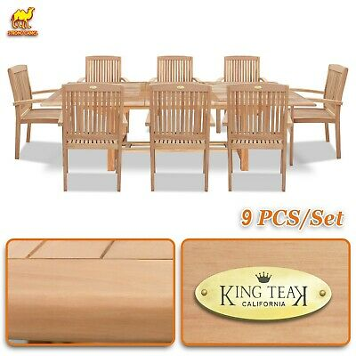 Pleasant 9 Outdoor Patio Classic Dining Wood Teak Furniture Set 1 Extending Table 8 Chair 8568814312 Ebay Andrewgaddart Wooden Chair Designs For Living Room Andrewgaddartcom
