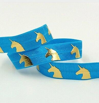 "1m Unicorn Gold Foil FOE Ribbon 5/8"" 16mm Elastic Choice of Colours"