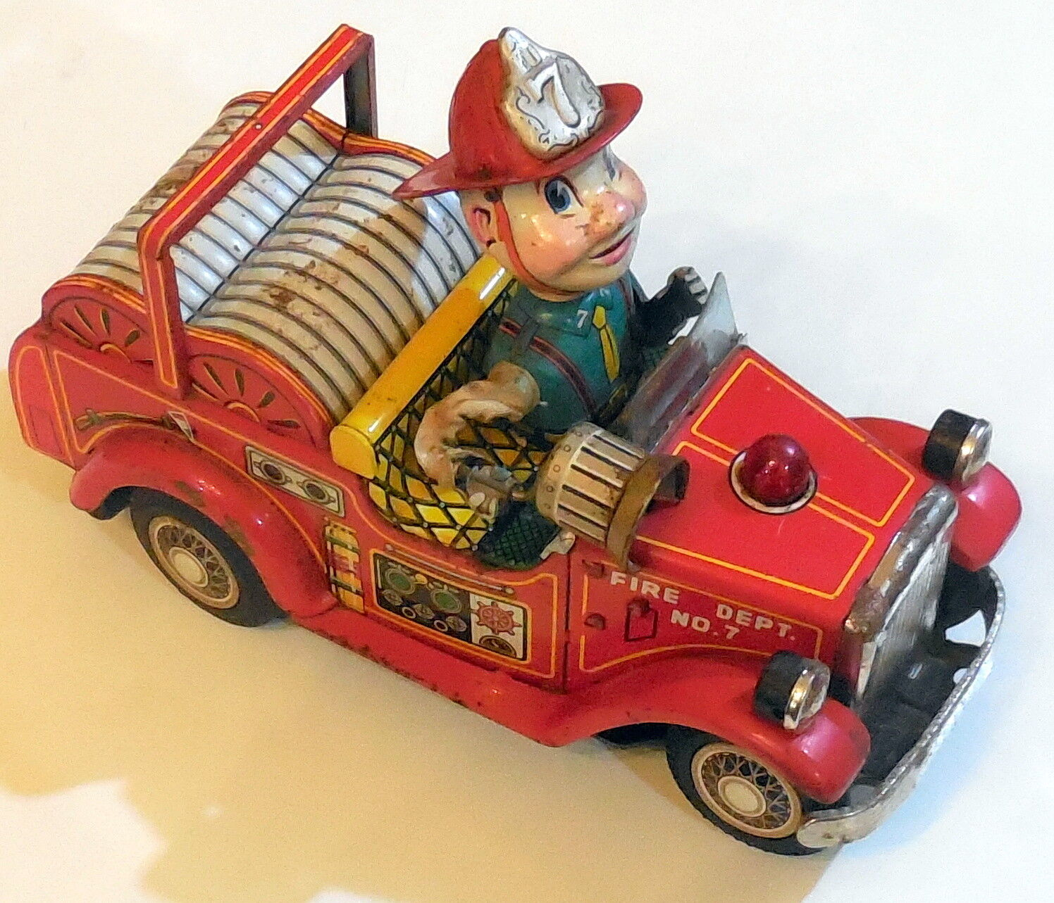VINTAGE TIN TOY LITHO CAR FIRE DEPT NO.7 NOMURA T.N MADE IN JAPAN 1950-60s