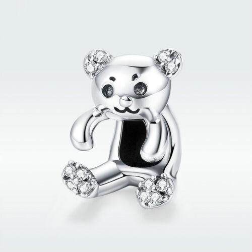 European 925 Sterling Silver CZ Charm Bead Cute Little Bear Pendant Jewelry Gift