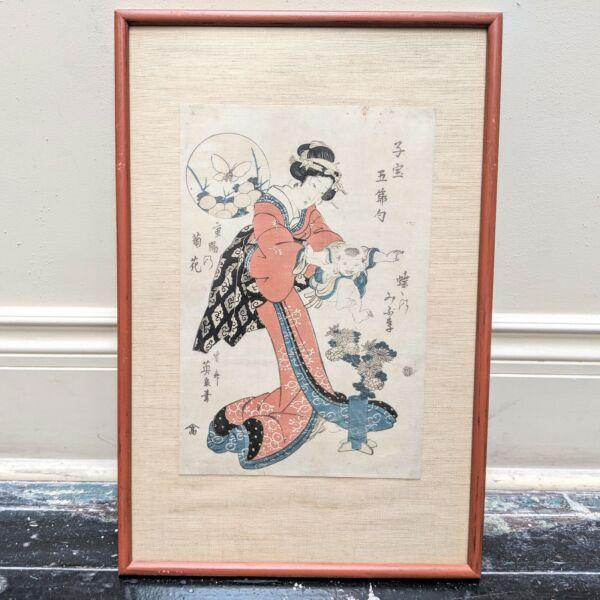 1800s Keisai Yeisen Armazón Geisha Woman Con Bebé Bloques De Madera Impresión
