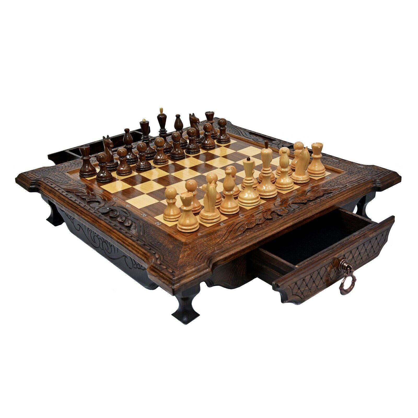 Big Walnut trä Chess Set med två lådor 19.3tum Unique Hand Board Game