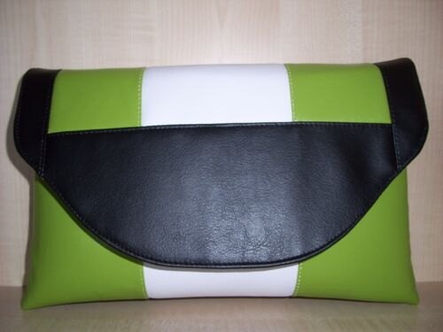 OVER SIZED  LIME GREEN BLACK /& WHITE faux leather clutch bag fully lined