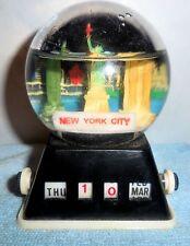 Vintage NYC Plastic Snow Globe/ Calendar - Twin Towers; Statue of Liberty [VHTF]
