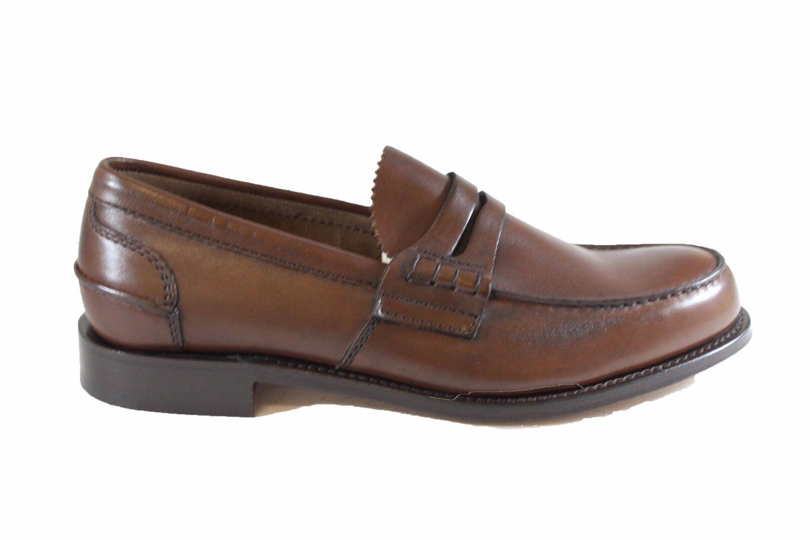 CHURCH'S Pembrey Bookbinder Cognac mocassino in pelle spazzolata Scarpe classiche da uomo