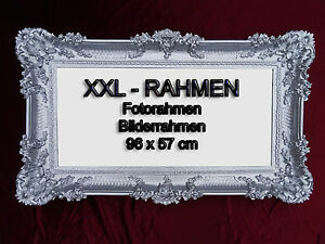BILDERRAHMEN WEIß GOLD FOTORAHMEN BAROCKRAHMEN ROKOKO ANTIK 96x57 REPRO RAHMEN