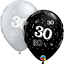 25-Noir-Argente-Age-30-Ans-Anniversaire-Ballons-en-Latex-Fete-Helium-Air miniature 3