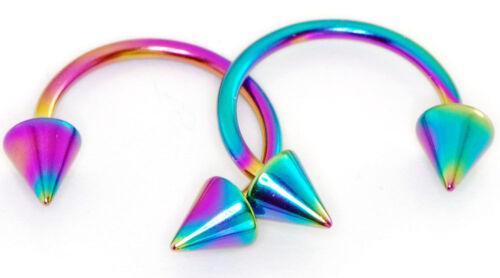 "14g 3//8/"" Rainbow Titanium Spikes Horseshoe Eyebrow Lip Septum Tragus Piercing"