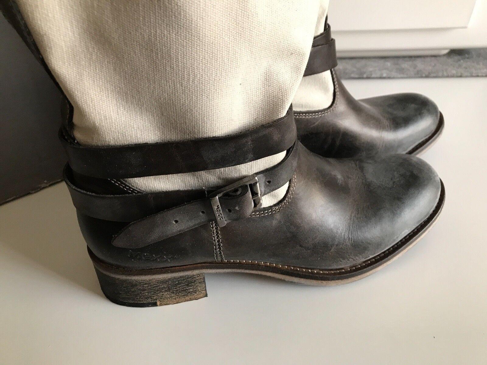MEXX –NEU– Leder und Gr. Canvas Stiefelette, Stiefel, Boots Gr. und 38, Schwarz NP 5596e5