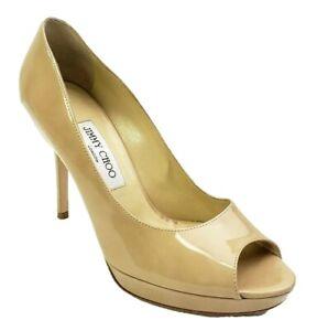 Jimmy-Choo-Size-37-5-EU-7-US-Beige-Nude-Luna-Heels-Patent-Leather-Peep-Toe-Pumps