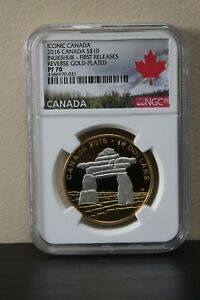 Iconic-Canada-2016-S-10-Inukshuk-First-Releases-Reverse-Gold-Plated-NGC-PF70