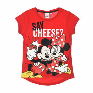 DISNEY-t-shirt-MINNIE-MICKEY-3-4-6-ou-8-ans-rouge-manches-courtes-NEUF