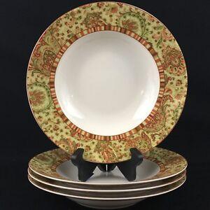 Set-of-4-Rim-Soup-Bowls-9-1-2-034-222-Fifth-Fine-China-Maharana-Green-Red-Paisley
