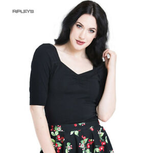 Hell-Bunny-Shirt-50s-Rockabilly-Top-PHILIPPA-Plain-Black-3-4-Sleeves-All-Sizes