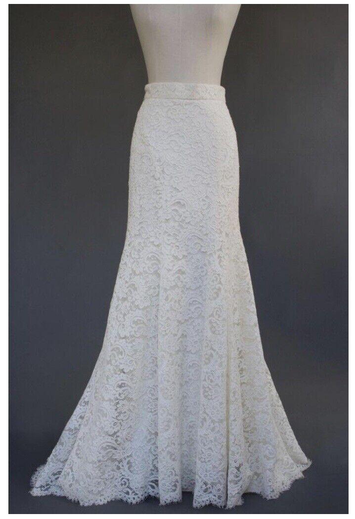 Monique Lhuillier Ivory Cotton Blend Alencon Silk Lace Wedding Skirt Size 6